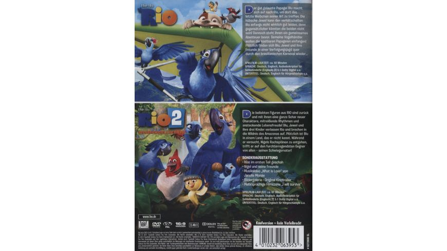 Rio 1 2 2 DVDs