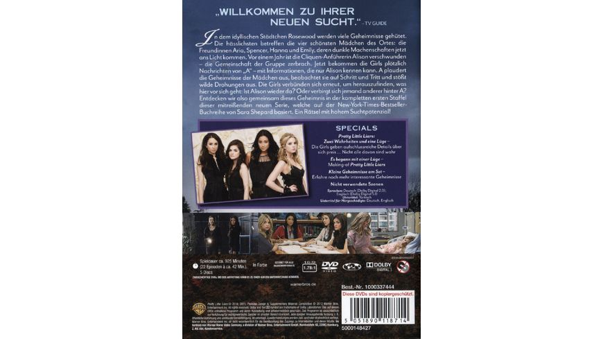 Pretty Little Liars Die komplette 1 Staffel 5 DVDs