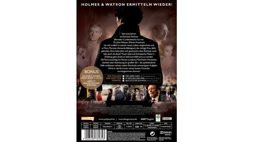 Sherlock Staffel 3 2 DVDs