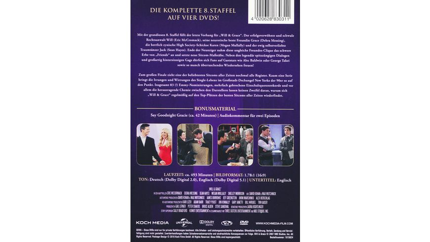 Will Grace Staffel 8 4 DVDs