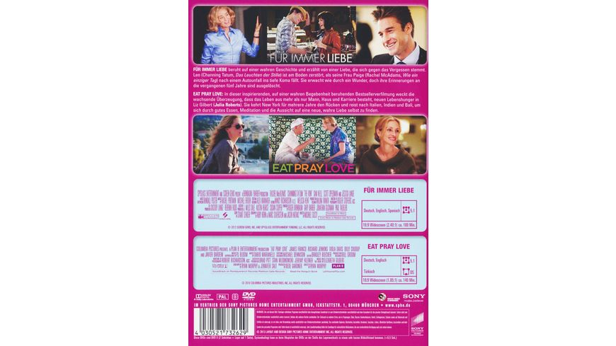 Fuer immer Liebe Eat Pray Love Best of Hollywood 2 Movie Collector s Pack 2 DVDs