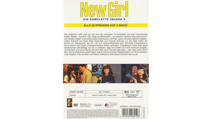 New Girl Season 5 3 DVDs