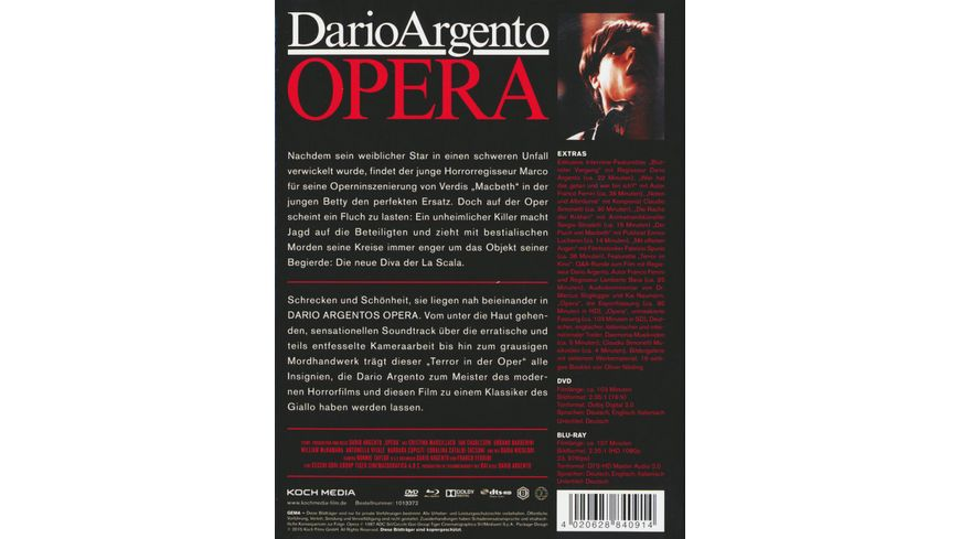 Dario Argentos Opera DVD Bonus DVD Mediabook
