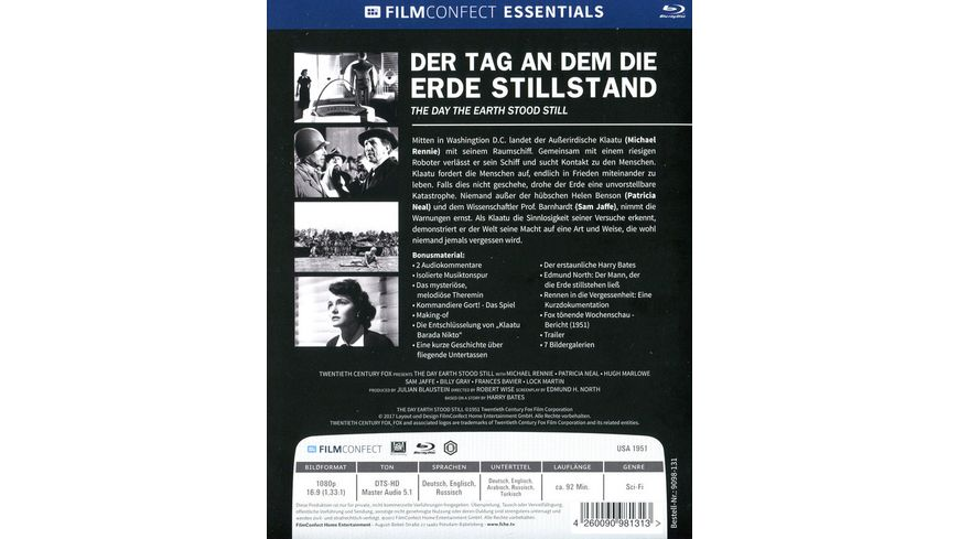Der Tag an dem die Erde stillstand Limited Mediabook Original Kinoplakat