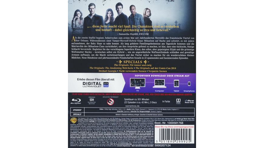 The Originals Die komplette Staffel 2 3 BRs inkl Digital Ultraviolet