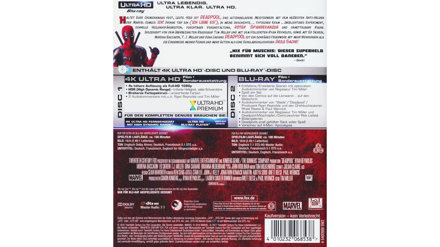 Deadpool 4K Ultra HD Blu ray