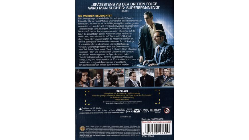 Person of Interest Staffel 1 6 DVDs