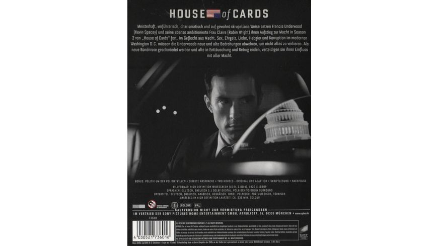 House of Cards Season 2 4 DVDs