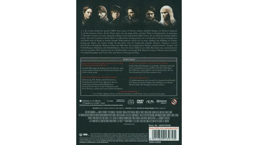 Game of Thrones Staffel 2 5 DVDs