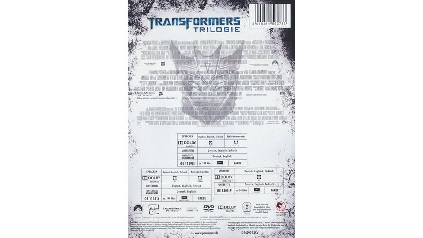 Transformers Trilogie 3 DVDs
