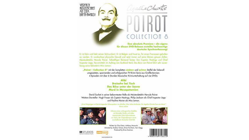 Agatha Christie Poirot Collection 8 4 DVDs