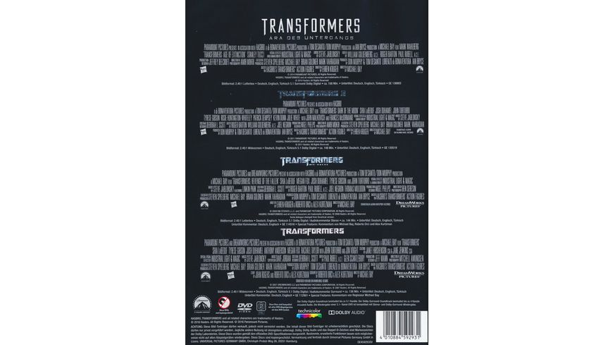 Transformers 1 4 Collection 4 DVDs