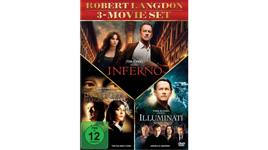 The Da Vinci Code Sakrileg Illuminati Inferno 3 DVDs