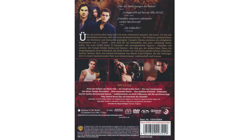 The Vampire Diaries Staffel 1 6 DVDs