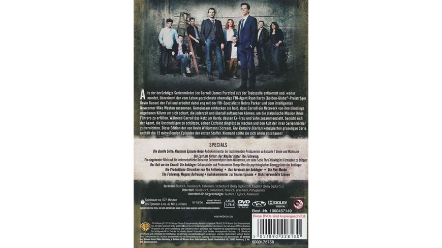 The Following Staffel 1 4 DVDs
