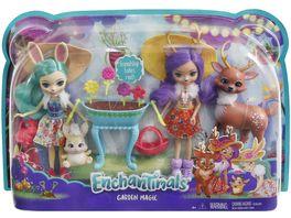 Mattel Enchantimals Gartenzauber Spielset mit Hasen Puppe Reh Puppe und ihren Tierfreunden