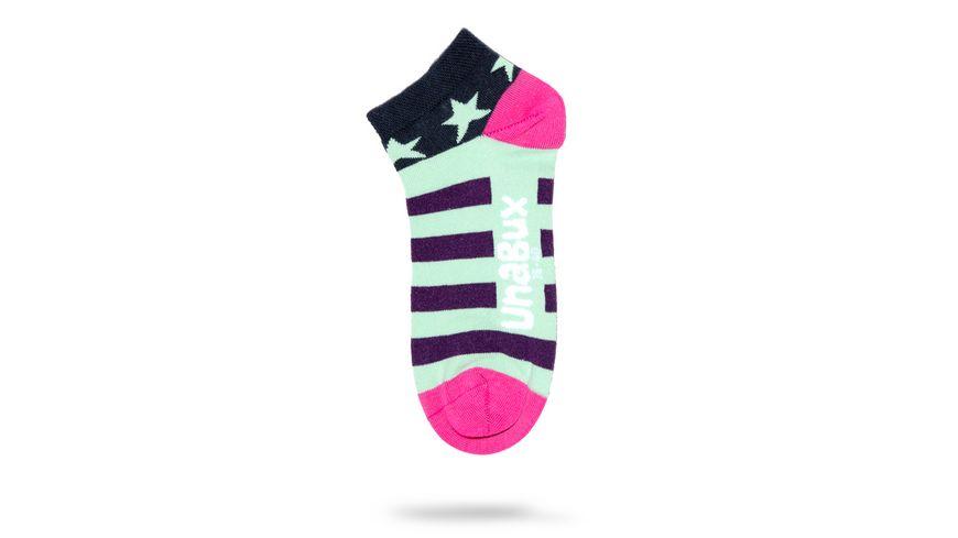 Unabux Sneakersocken Sterne Streifen unisex 2er Pack