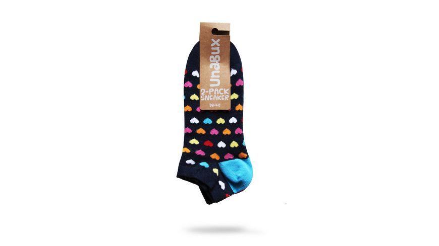 Unabux Unisex Sneaker Socken Anker Herz 2er Pack