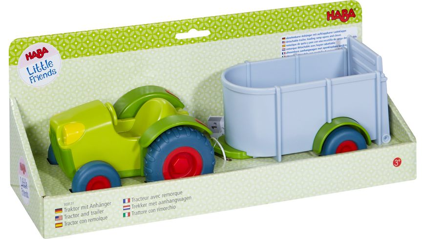 HABA Little Friends Traktor mit Anhaenger