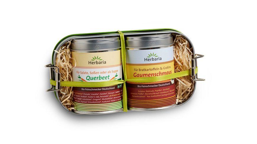 Herbaria Lunchbox mit Gaumenschmaus und Querbeet bio