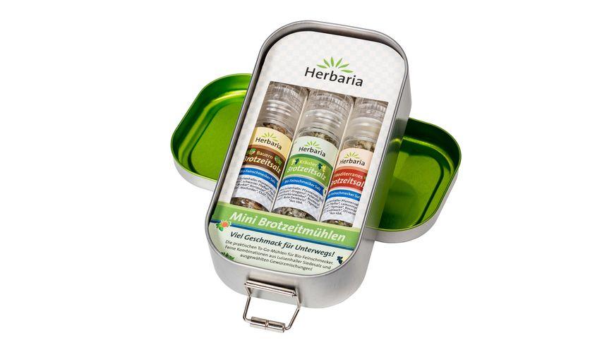 Herbaria Lunchbox mit 3 Mini Brotzeitmuehlen bio