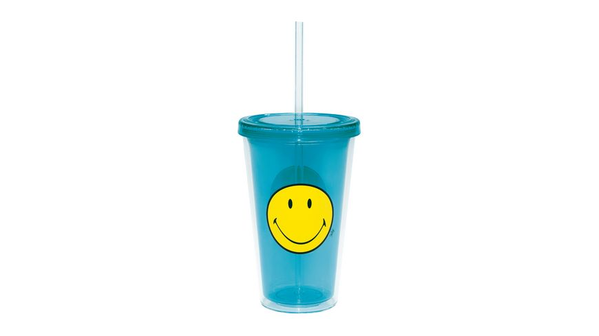 zak Trinkbecher mit Trinkhalm aqua blau 490 ml