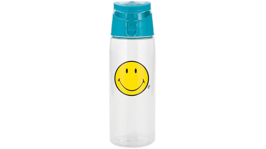 zak Trinkflasche Smiley transparent aqua blau 750 ml