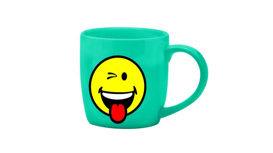 zak Tee Tasse Smiley Zwinkern aqua blau 350 ml