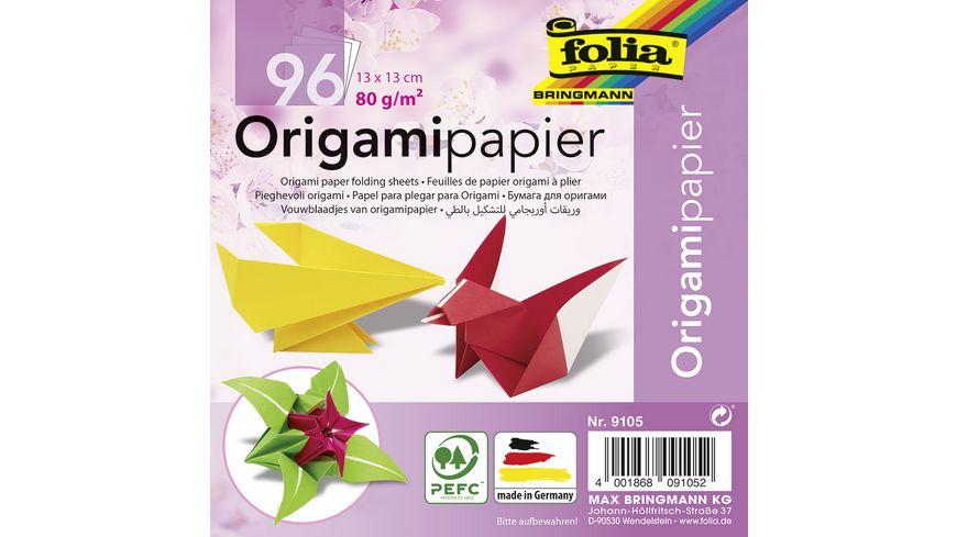 folia Faltblaetter aus Origamipapier 96 Blatt 13 x 13 cm