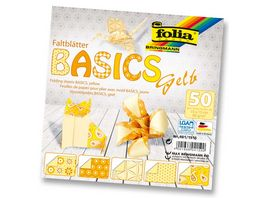 folia Faltblaetter Basics gelb 50 Blatt 15 x 15 cm