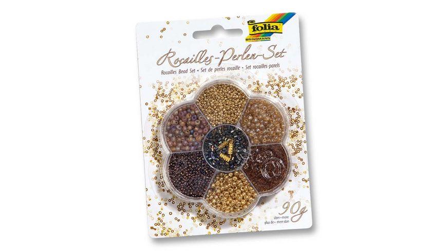 folia Rocailles Perlen Set gold braun