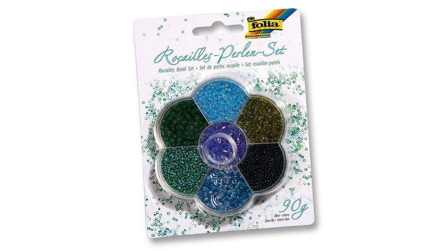 folia Rocailles Perlen Set blau gruen