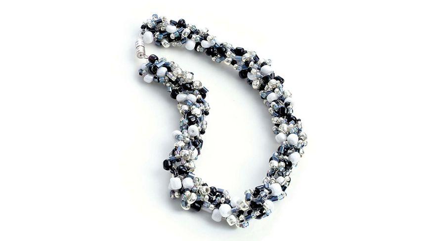 folia Rocailles Perlen Set silber schwarz