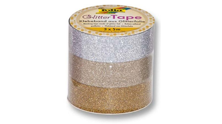 folia Glitter Tape 3er Set gold hellgold und silber