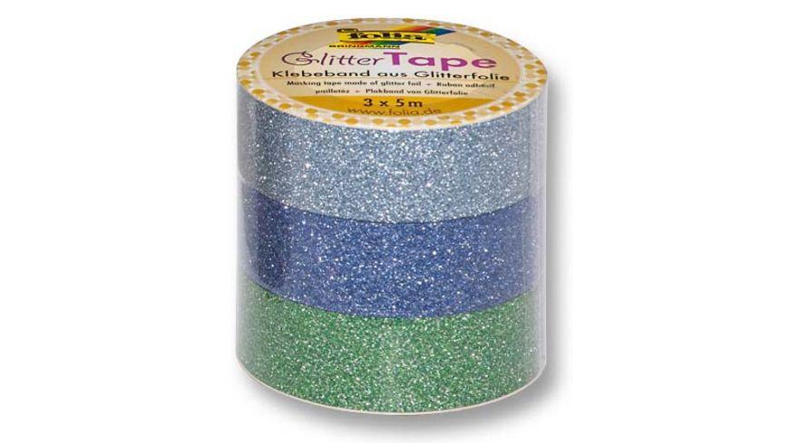 folia Glitter Tape 3er Set hellblau dunkelblau und gruen