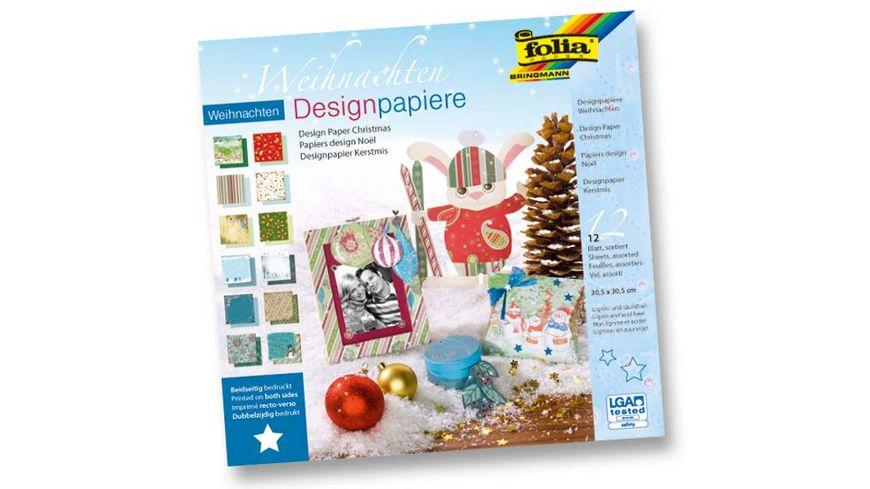 folia Designpapierblock Weihnachten 12 Boegen 30 5 x 30 5 cm