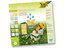 folia Designpapierblock Blume 12 Boegen 305 x 305 cm