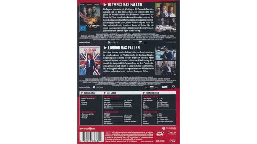Olympus Has Fallen Die Welt in Gefahr London Has Fallen 2 DVDs