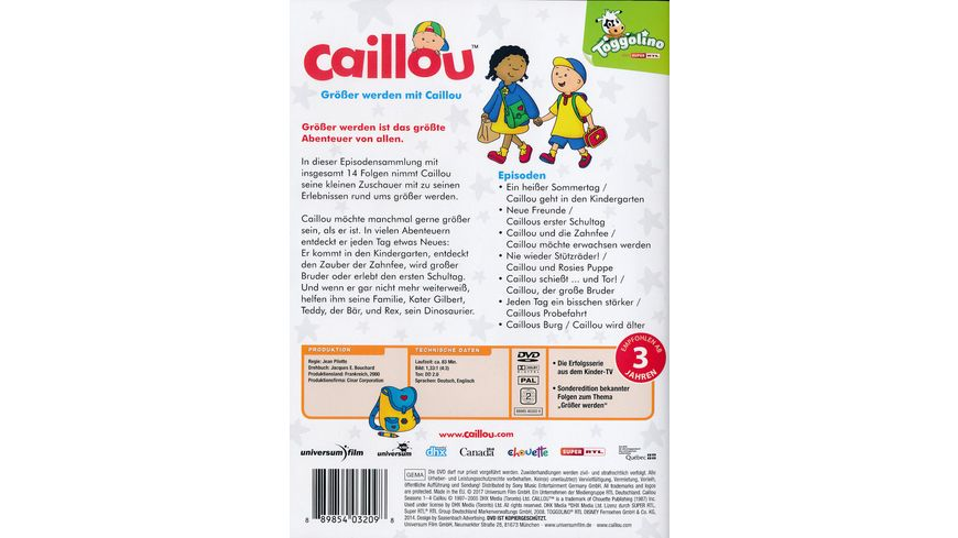 Caillou Groesser werden mit Caillou