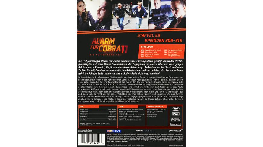 Alarm fuer Cobra 11 Staffel 39 2 DVDs