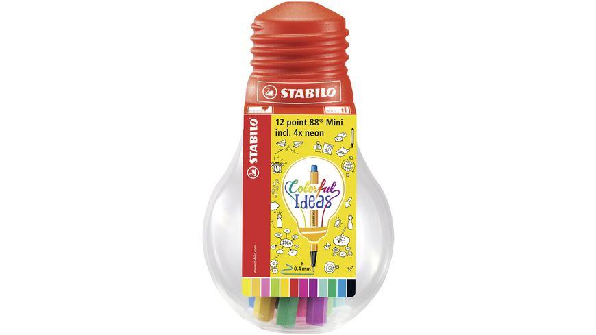STABILO Fineliner point 88 Mini Colorful Ideas 12er Set in Gluehbirne