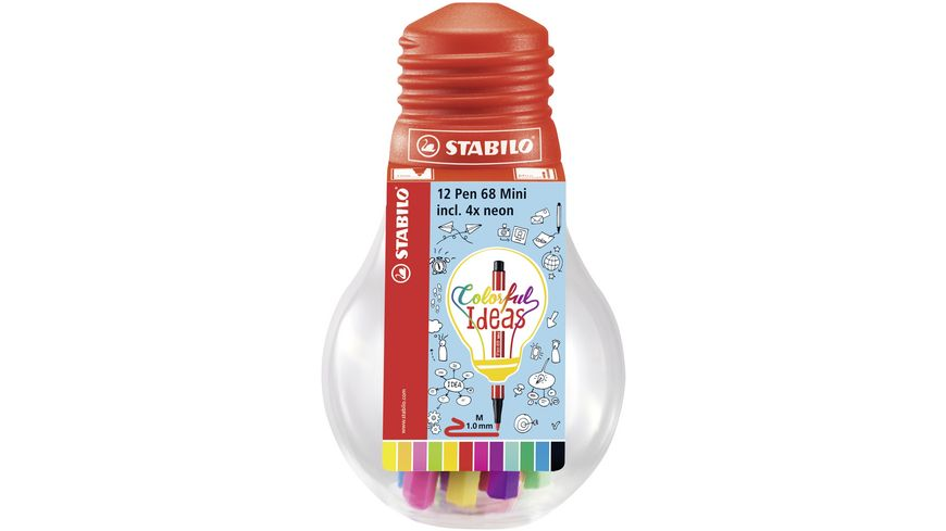 STABILO Fineliner point 68 Mini Colorful Ideas 12er Set in Gluehbirne