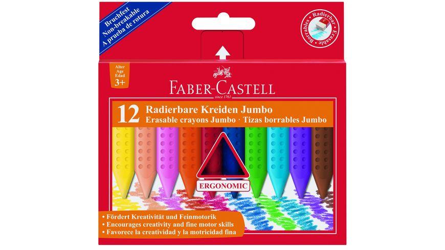 FABER CASTELL Wachsmalkreide Grip Jumbo radierbar 12er Pack