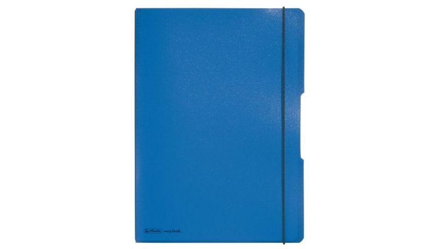 my book flex Notizheft PP A4 blau liniert kariert