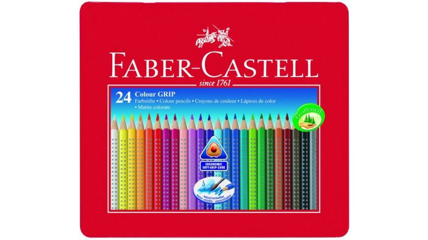FABER CASTELL Buntstifte Grip Colour 24er Metalletui