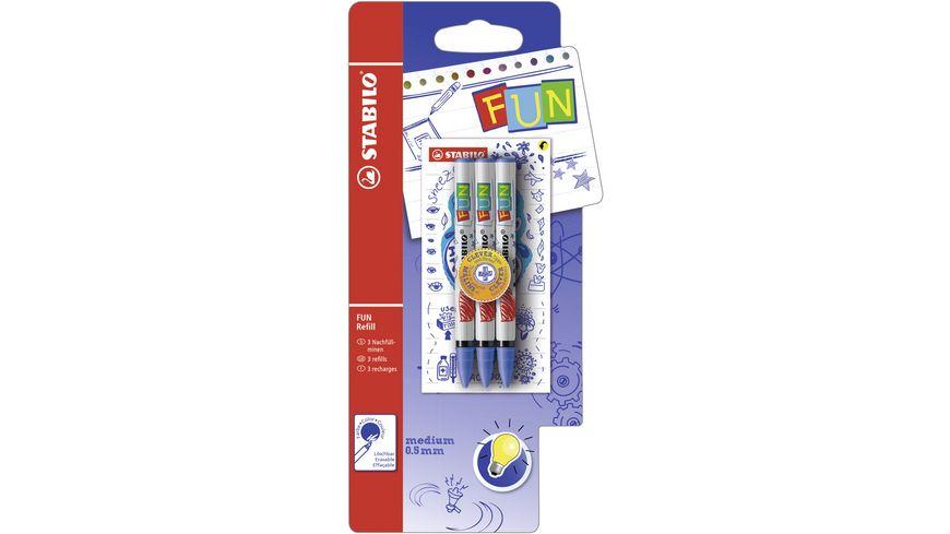 STABILO Tintenroller FUN Refill M 3er Pack