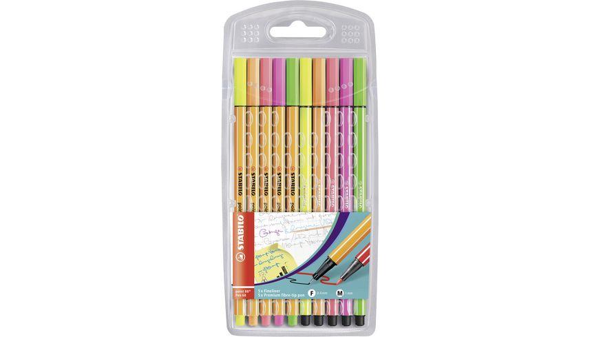 STABILO® Fineliner & Filzstifte - STABILO point 88 + Pen 68 - 10er Pack - Neonfarben