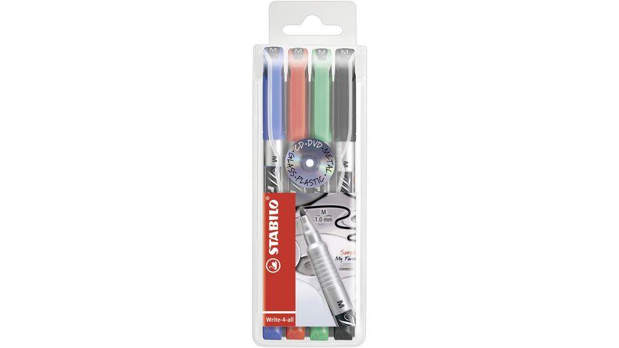 STABILO® Permanent-Marker - STABILO Write-4-all - medium - 4er Pack - blau, rot, grün, schwarz
