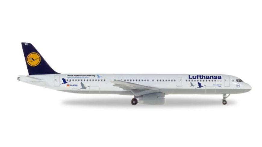Herpa 230491 Wings Lufthansa Airbus A321 25 Jahre Kranichschutz D AIRR Wismar