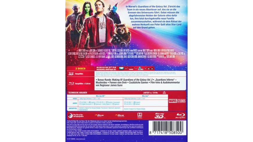 Guardians of the Galaxy 2 Blu ray 2D